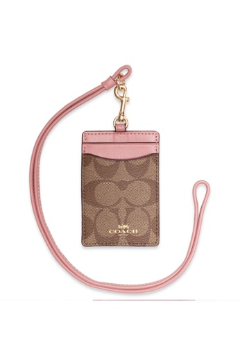 Coach brown Coach ID Lanyard In Signature Canvas - Brown/Blossom 3FBE7ACF8D99A6GS_1