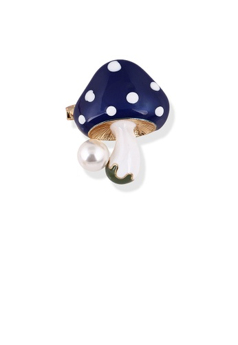 Glamorousky white Fashion and Simple Plated Gold Blue Mushroom Brooch with Imitation Pearls 18BEDAC4848DF9GS_1