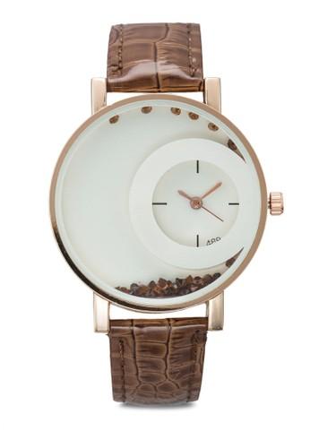 水晶雙圓框仿皮手錶esprit macau, 韓系時尚, 梳妝