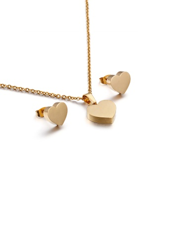 Glamorousky silver Simple and Romantic Plated Gold Heart-shaped 316L Stainless Steel Necklace and Stud Earrings Set 5038EACCE0E708GS_1
