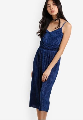 Miss Selfridge blue Blue Plisse Cami Jumpsuit MI665AA85WPIMY_1