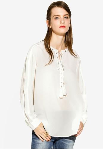 Hopeshow white Lace-up Blouse 16405AAD6BA8E7GS_1
