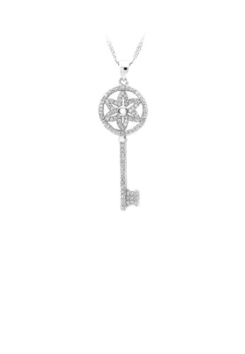 Glamorousky silver 925 Sterling Silver Key Pendant with White Cubic Zircon and Necklace 2A617AC9B9D918GS_1