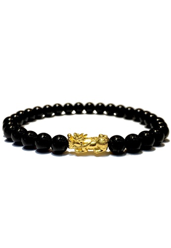 LITZ black and gold [SPECIAL] LITZ 999 (24K) Gold PiXiu (0.70g+/-) with free Black Agate Bracelet 359FAACF6BE900GS_1