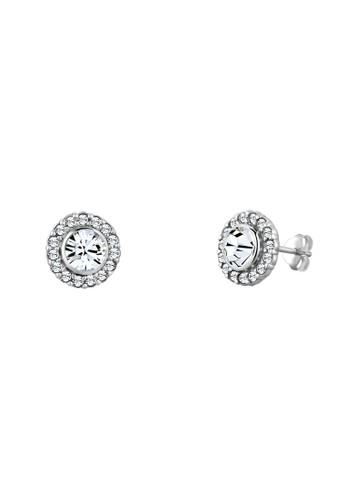 施華洛世奇水晶高雅閃亮 925 銀耳環, 飾品配esprit 工作件, 耳釘