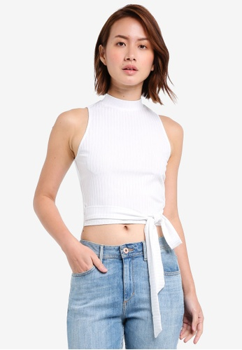 ZALORA white High Neck Rib Tops With Long Strap 91F02AA0F3ED4EGS_1