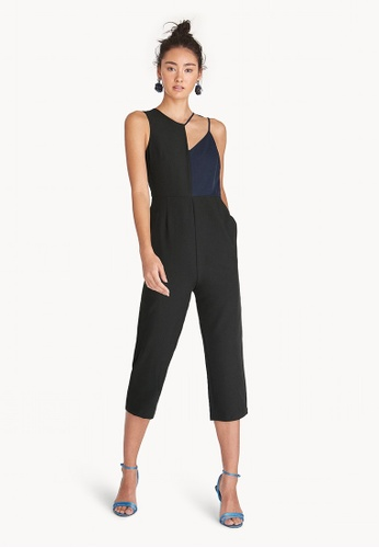 Pomelo black Two Toned Cut Out Jumpsuit - Black E7908AAF6AA0C9GS_1