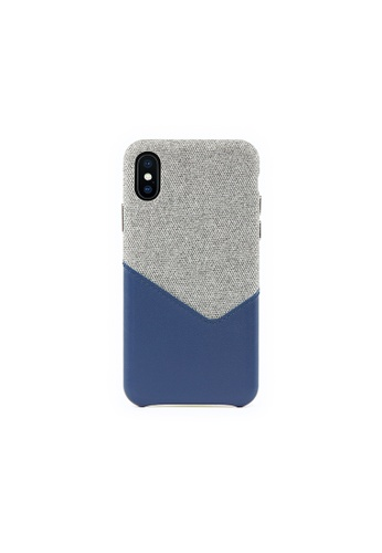 OBX blue Lavender iPhone X/Xs Fabric Mixed Leather Snap-On Case 0FDCBAC896E4E4GS_1