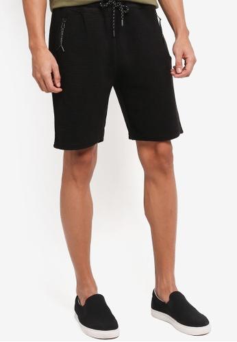 Topman black Ottoman Textured Jersey Shorts B691AAA3449B2CGS_1