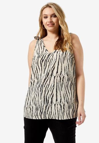 Dorothy Perkins multi Plus Size Zebra Print Shoulder Tie Tank Top 3321BAA499FFB7GS_1