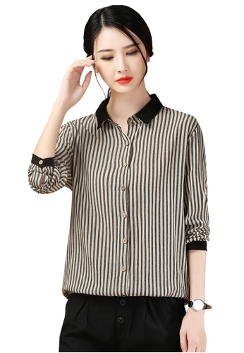 A-IN GIRLS black and brown Temperament Striped Floral Shirt 05750AA0FCCA3FGS_1