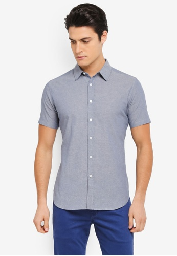 ZALORA blue Chambray Short Sleeve Shirt 9F8AEAA6CBF484GS_1