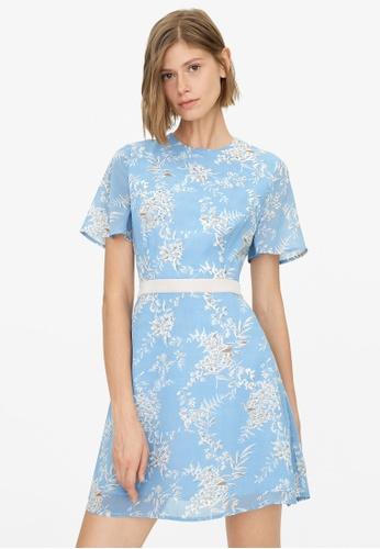 Pomelo blue Leaf Print Semi Sheer Dress - Blue 3A3F7AAA192754GS_1