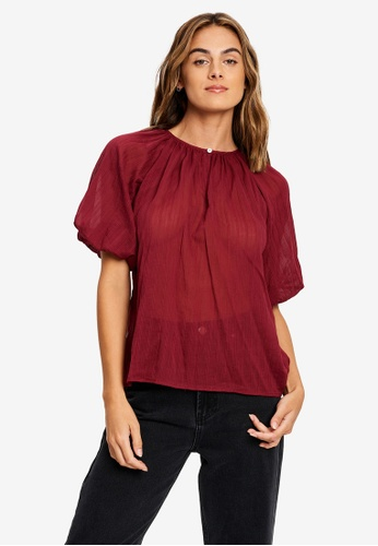 The Fated red Lottie Blouse E294FAA8DDB3A2GS_1