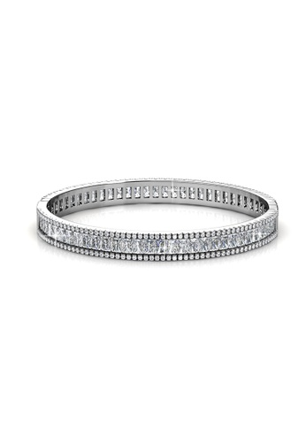 Her Jewellery silver Glamour Lock Bangle (White Gold) - Simulated Diamond (Cubic Crystals) HE210AC0F1CTSG_1