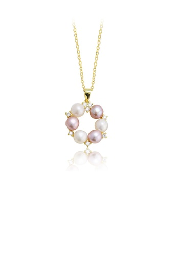 Glamorousky white 925 Sterling Silver Plated Gold Fashion and Elegant Geometric Circle Freshwater Pearl Pendant with Cubic Zirconia and Necklace 1D537AC5926B3EGS_1