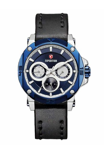 Expedition black Expedition Jam Tangan - Black Silver Blue - Leather Strap - 6606 BFLTUBU 06DF7AC86C0A87GS_1