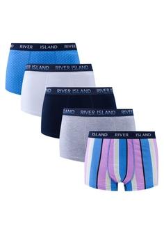 River Island blue Stripe Hipster Underwear 5 Pack E7630USC0AA8A0GS_1
