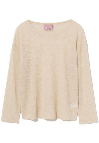 b+ab beige Sheer knit top 328D7AAEE5459EGS_1