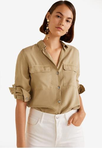 Mango brown Chest-Pocket Soft Shirt 624C8AA7E521ACGS_1