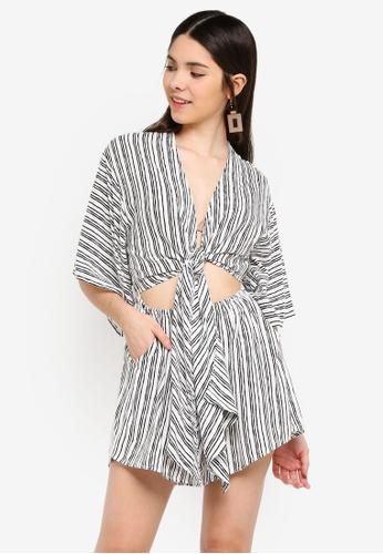INDIKAH black Kimono Sleeve Tie Front Playsuit C3253AABC93E39GS_1