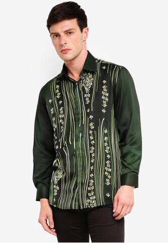 Gene Martino green Men's Batik Art Strip Shirt 19231AAAF9F9BEGS_1