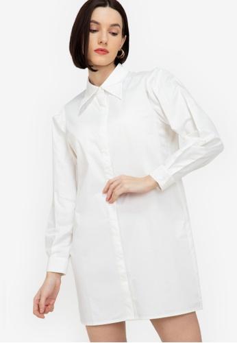 ZALORA WORK white Structured Sleeves Shift Shirt Dress 347A1AA2A795E6GS_1