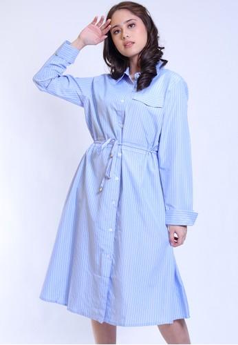 Hardware blue HARDWARE TWO TONE STRIPES DRESS B833DAA8292305GS_1