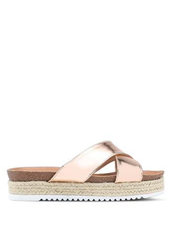 Carlton London gold Metallic Strap Sandals 5F368SH042363DGS_1
