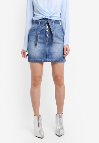 Miss Selfridge blue Denim Paper Bag Mini Skirt 7DCB1AA3BA504BGS_1