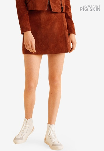 Mango brown Wrapped Leather Skirt F5A53AA98AAA6CGS_1