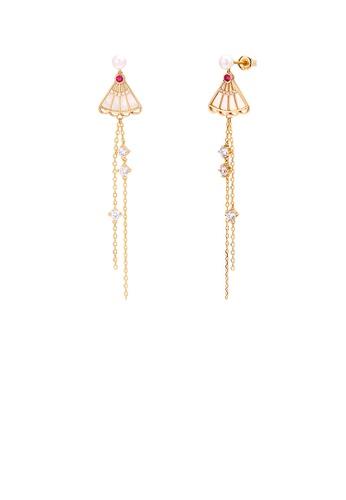 Glamorousky white 925 Sterling Silver Plated Gold Fashion Temperament Shell Folding Fan Tassel Freshwater Pearl Tassel Earrings with Cubic Zirconia 590ECACBE13B97GS_1