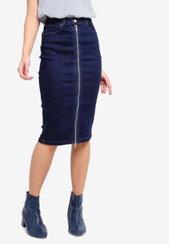 ZALORA blue Zip Detail Straight Denim Skirt 251BDAA1215E7DGS_1