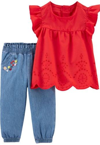 Carter's red CARTER'S Girl Red Tee & Denim Pant Set F0C59KA56C333DGS_1