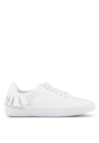 Velvet white Frill Lace Up Sneakers 90CE9SH053FED6GS_1