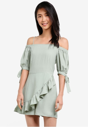 ZALORA green Cold Shoulder Playsuit With Sleeve Tie 05C4BAAD7BE01DGS_1