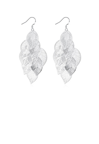 Glamorousky silver Fashion Leaf Earrings 94E42ACD136B78GS_1