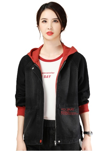 A-IN GIRLS 黑色 and 紅色 時尚拼色連帽牛仔外套 3C8D2AA69B3BB1GS_1