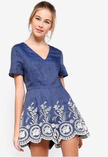 Something Borrowed blue Embroidered Hem Playsuit E6308AA89CCAA5GS_1