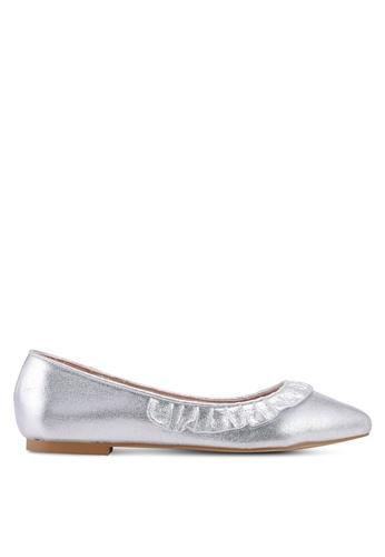 Carlton London 銀色 荷葉飾流蘇拖鞋 1967ASH84A89C4GS_1