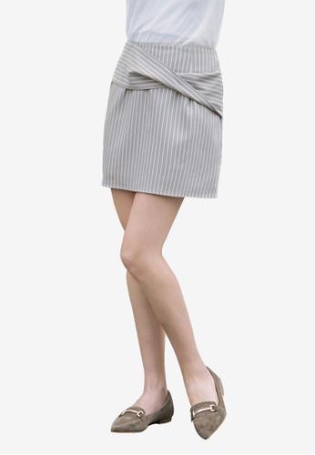 Kodz grey Striped Miniskirt 2D00FAA3A26265GS_1