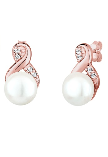Elli Germany white 925 Sterling Silver Swarovski® Crystals Freshwater Pearls Rose Gold-Plated Earrings EL474AC0S1ZUMY_1