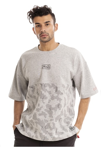 RYZ grey RYZ Mid-pattern Grey Short Sleeve Sweat T-Shirt. 42CFFAA9C8F406GS_1