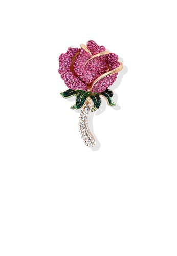 Glamorousky gold Fashion Bright Rose Red Rose Brooch with Cubic Zirconia CF46AAC354860BGS_1