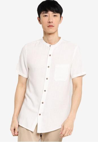 ZALORA BASICS white Stand Collar Linen Blend Shirt 875A8AA4E8C4A6GS_1