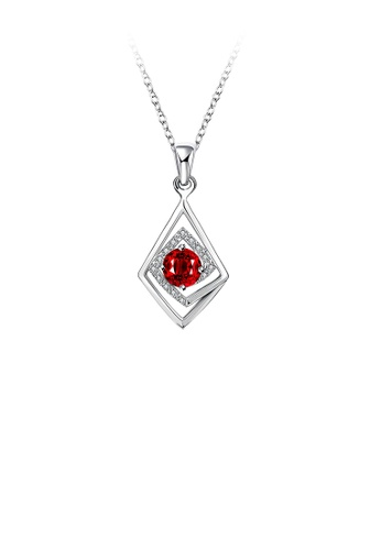 Glamorousky white Fashion Classic Geometric Diamond Pendant with Red Cubic Zircon and Necklace 54855AC6D9686BGS_1
