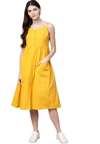 SASSAFRAS yellow Yellow Front Open Strappy Dress 26D59AA9EAA54CGS_1