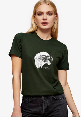TOPSHOP green Eagle Oversized T-Shirt BC777AAA7C7CC9GS_1