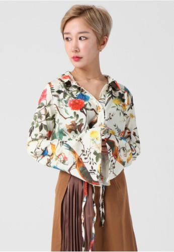 韓流時尚 花卉印花荷葉邊袖襯衫 F4099, esprit 品牌服飾, 襯衫