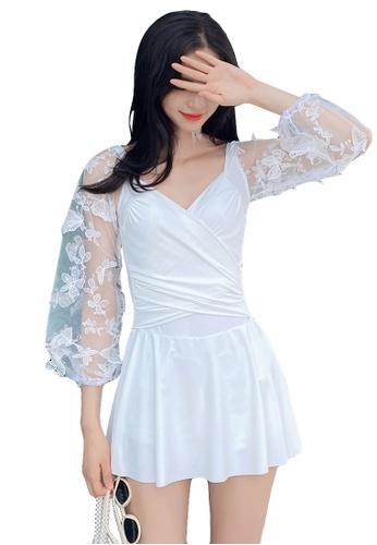 A-IN GIRLS white Elegant Gauze Flower One-Piece Swimsuit CB1A9US5F6C83CGS_1